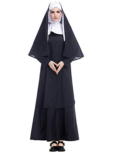 Lecoyeee Damen Nonnen Kostüm Halloween Zombie-Nonne Kostüm Set Kopfbedeckung,Kleid,Umhang Erwachsene Horror Kostüm Karneval Verkleidung Kirche Cosplay Party Priester Faschingskostüm Größe S-XXXL
