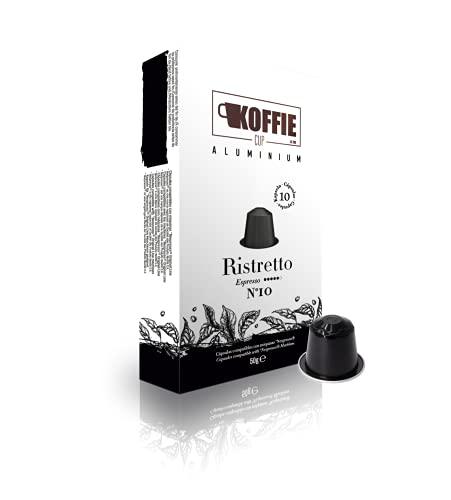 Koffie Cup Ristretto - 40 cápsulas de café de aluminio compatibles con máquinas Nespresso ® - Receta Ristretto - Total 40 cápsulas (4x10cáps) koffiecup