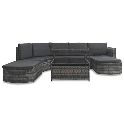 vidaXL Gartenmöbel 5-TLG. mit Auflagen Lounge Sofa Sitzgruppe Garten Garnitur Gartenset Sitzgarnitur Gartensofa Ottomane Tisch Poly Rattan Grau