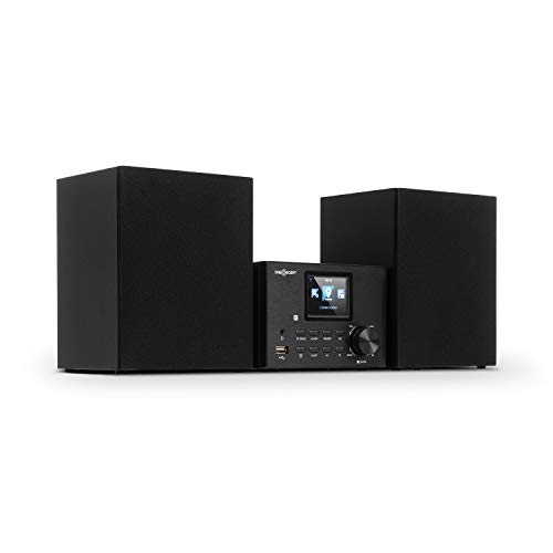Oneconcept Streamo Equipo estéreo con Radio por Internet - Conexión de Radio por WiFi, Dab Dab+ y FM , 2 Altavoces de 10 W , Bluetooth , Lector de CD , Conexión: USB, AUX-IN, Negro