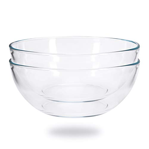FOYO 8-inch Round Tempered Glass Bowl for Mixing Salad or Cereal, Set of 2