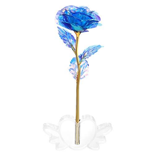 ABOOFAN Goldfolie Rose Romantische mit Liebesform Kristallbasis Eleganten künstliche Rosenblume für Muttertag Hochzeitstag Geburtstag Valentinstag