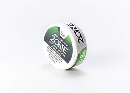 2One Premium Lab Produced Tobacco-Free Nicotine All-White Pouches, Eucalyptus Rush, 6mg (21 Pouches per can) 5 cans