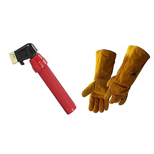 Twist Type Welding Electrode Holder Reboot 400AMP Full Copper Heavy Duty Electrode Clamp Accessories for Welding Machine ARC MMA Welder whit welding gloves