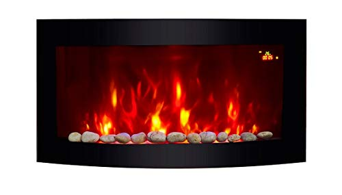 TruFlame Wall Mounted Fire/ Landscape Black Curved Glass/ Flame Effect with Remote Control, 2000 Watt