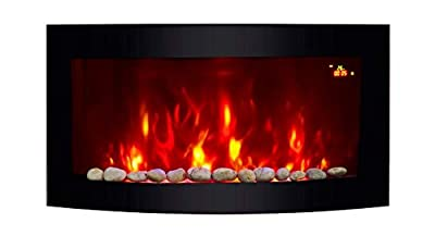 TruFlame BLACK GLASS CURVED ELECTRIC WALL MOUNTED FIRE PLACE WITH PEBBLE EFFECT