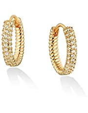 Befettly Huggie Earrings for Women CZ Hoop Earrings 14K Gold Plated Dainty Evil Eye Simple Cone Cuff Earring