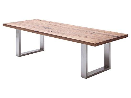 möbelando Esszimmertisch Holztisch Esstisch Küchentisch Tisch Massiv Küche Castello I (Eiche Bassano, 220x100 cm)