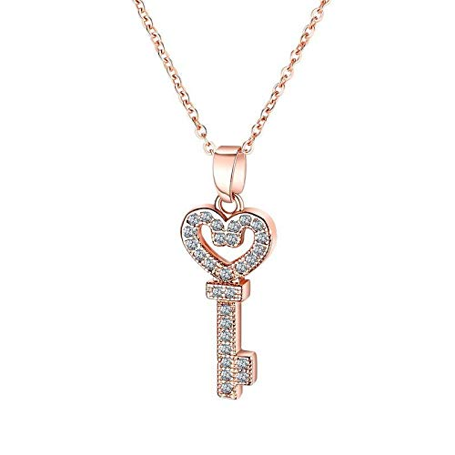 YQMR Colgante Collar para Mujer,Elegant Pendant Necklace For Women Rose Gold Key of Love Pendant Jewelry Dama Moda Regalo para Parejas Cumpleaños Aniversario De Bodas