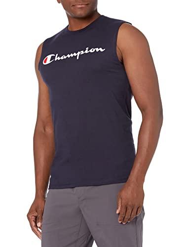 Champion Men's Graphic Jersey Muscle, navy, Medium