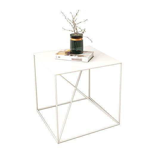 TINGTING Table d'appoint basse métal Pas facilement déformé Cube Cross support stable Facile à nettoyer 50 * 50 * 50cm (Couleur : Blanc, taille : 50 * 50 * 50cm)