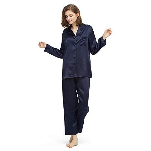 LilySilk Elegante Seide Nachtwäsche Schlafanzug Pyjama Damen Lang Hausanzug 16 Momme (M, Navy Blau) Verpackung MEHRWEG