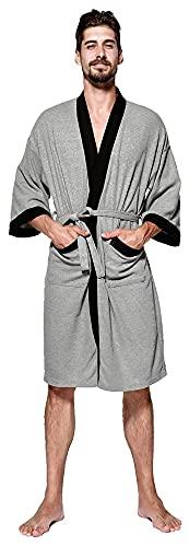 Bata de kimono para hombres, tejido de gofres de algodón, pareja unisex, vestido nocturno de mujeres y hombres, albornoz de spa, bolsa de dormir ligera y suave hasta la rodilla, albornoz de algodón, t