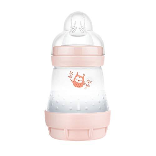 MAM Easy Start Anti-Colic Elements Babyflasche (160 ml), Milchflasche für die Kombination mit dem Stillen, Baby Trinkflasche mit Bodenventil gegen Koliken und Sauger Größe 1, 0+ Monate, Eule