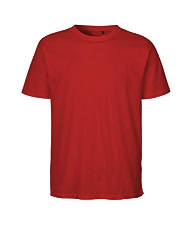 Green Cat - Camiseta regular, 100% algodón orgánico. Certificado de comercio justo, Oeko-Tex y Ecolabel. rojo L