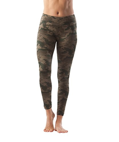 90 Degree By Reflex - Performance Activewear - Printed Yoga Leggings - Camo Khaki - Large