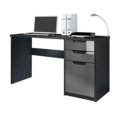 Vladon Schreibtisch Computertisch Büromöbel Logan, Korpus in Schwarz matt/Fronten in Grau Hochglanz