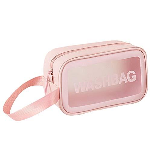 Neceser neceser, bolsa de aseo para colgar, bolsa de maquillaje portátil, transparente, color rosa S