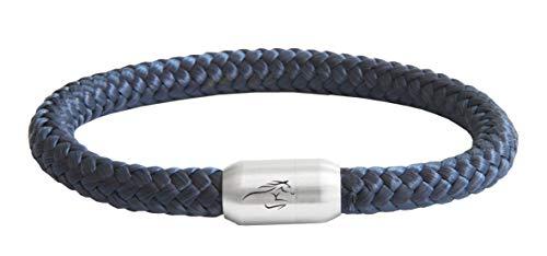 Unbekannt ⚓ Paris Montana ⚓ Das Original Reitsport Pferde Jockey Club Segeltau Armband Mit Pferde Gravur Handmade Hochwertiger Magnetverschluss Durchmesser 8mm (Marine Blau, 20)