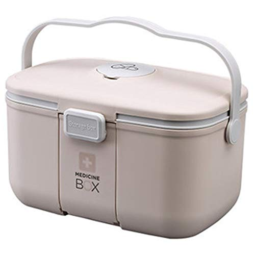 Xunlin Medizin-Kasten-Organisator Erste-Hilfe-Kit Startseite Plastikaufbewahrungsbehälter Portable Kits Kabinett Familie Emergency Kit Box 2 Ebenen (Farbe : Blau)