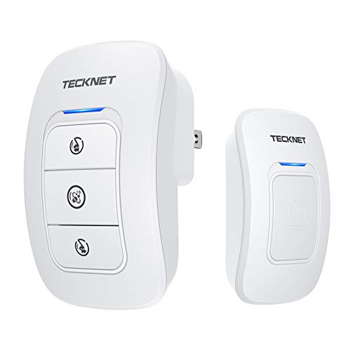 Wireless Doorbell, TeckNet Wireless Door Bell Chime Kit with LED Light, 1 Receiver and 1 Push Button, Operating at 820-feet Range with 38 Chimes
