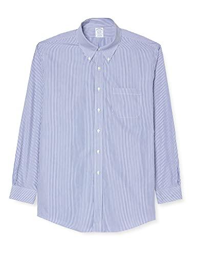 Brooks Brothers Dress Non-Iron Botton Down Regent Stripe Chemise, Bleu (Blue 19), 38 (Cou 15 Manche in. 33) Homme