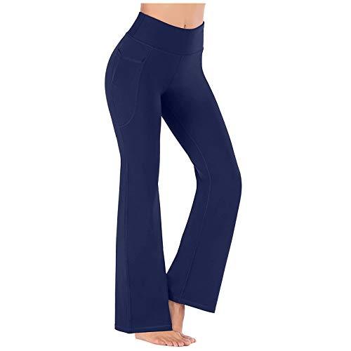 Lenfeshing Pantalones de Yoga Mujer con Bolsillos de Pierna Ancha Salón Recto Suelto Pantalones de Entrenamiento Pantalones de Chándal Casuales Activos