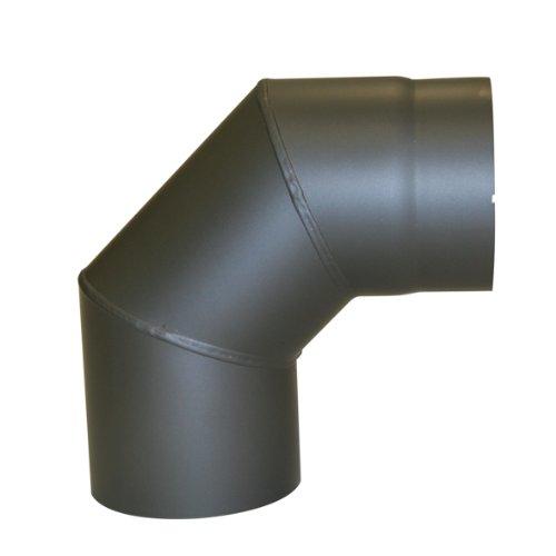 Kamino - Flam – Codo para chimenea de leña, Codo para estufa de leña, Codo vitrificado, Codo de escape – resistente a altas temperaturas – Gris oscuro, Ø 150 mm/90°C