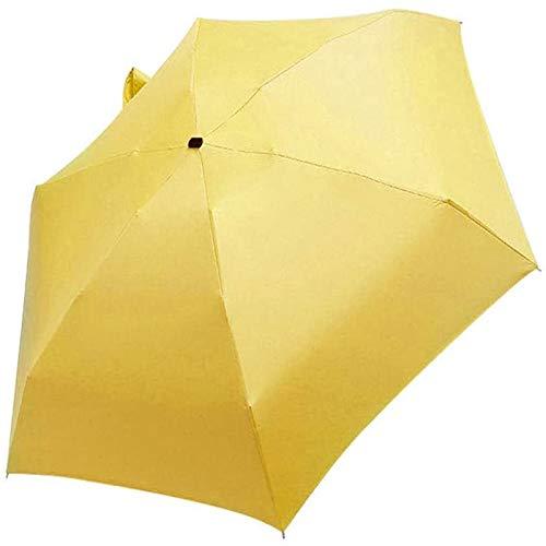 Paraguas A Prueba De Viento Sol Plegable Ligero Ligero Súper Mini Umbrellatravel para Niños Mujeres, Automático Reversa Sol Y Lluvia, Bolsa De Cremallera 16 Cm 180g(Color:Amarillo)