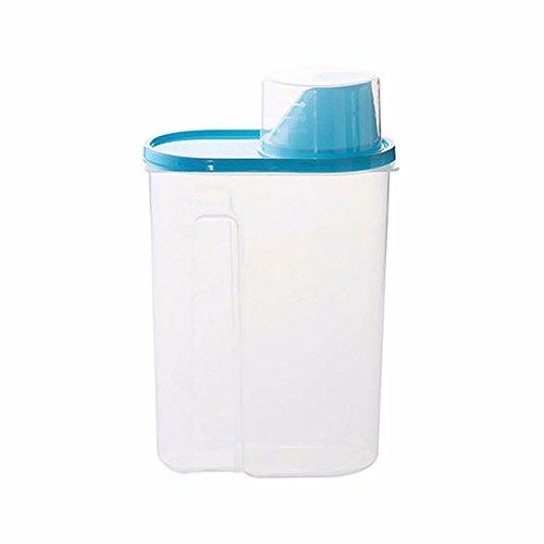 VEIREN - Recipiente de plástico transparente para almacenamiento de alimentos (2,5 L, con tapa, para congelar frutas, frutas) azul