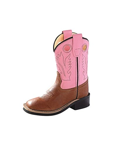 Old West Cowboy Boots Girls Rubber 8 Infant Tan Canyon Pink BSI1839