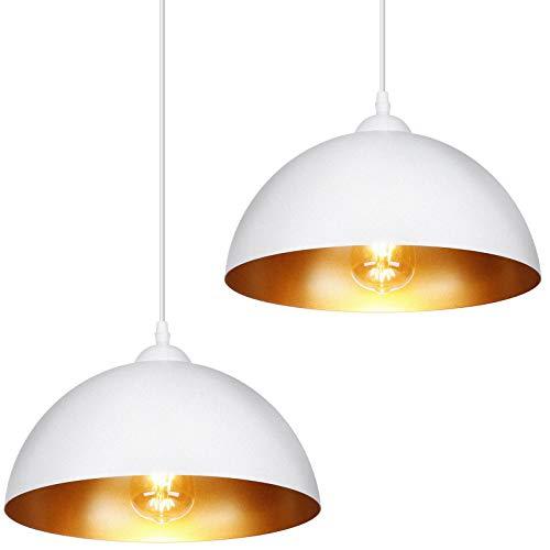 Albrillo 2er Set Pendelleuchte Moderne - Pendellampe, 30cm Durchmesser Hängelampe mit verstellbarem Kabel, geeignet für E27 LED Lampe, max. 60W, Hängeleuchte für Wohnzimmer, Schlafzimmer, Esszimmer