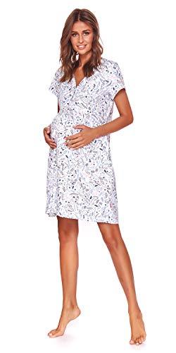 dn-nightwear Camisón de maternidad para mujer, para hospital, camisón de lactancia, camisón para embarazadas y maternidad flower XL