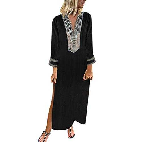 QIMANZI Damen GedrucktKurze Hülse V-Ausschnitt Maxikleid Hem Baggy Kaftan Langes Kleid(ZW Schwarz,S)