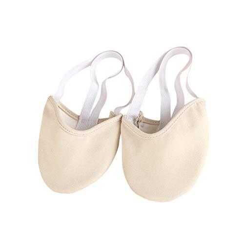 Leezo Zapatillas de ballet duraderas de lona con media suela, para gimnasia rítmica, para niñas y mujeres, Skin, M--- EU 36-37 / UK 4-5