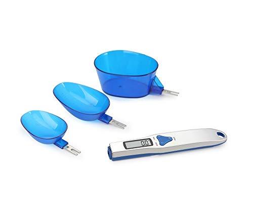 Eidyer Bascula Cocina Alimentos Digital con 3 cucharas medidoras Pesaje y líquido seco Ingrediente Leche Té Harina Medicina Escala de miligramos de Pantalla LCD portátil de 500g/0.1g