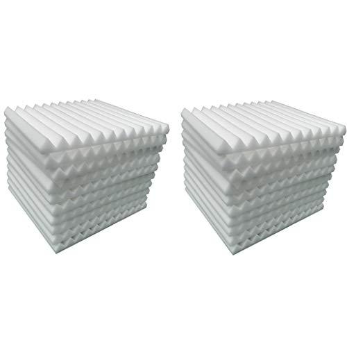 20PCS Aislante Acústico pared de Algodón Material de Esponja de Algodón que absorbe el Sonido KTV Estudio de Aislamiento de Algodón Silenciador Algodón material de Aislamiento Acústico (blanco)