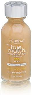L'Oreal Paris Makeup True Match Super-Blendable Liquid Foundation, Natural Beige W4, 1 Fl Oz,1 Count