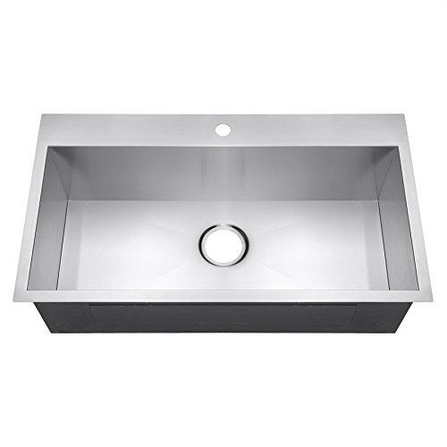 Golden Vantage 33' x 22' x 9' Top Mount Handmade Stainless Steel Single Basin Kitchen Sink