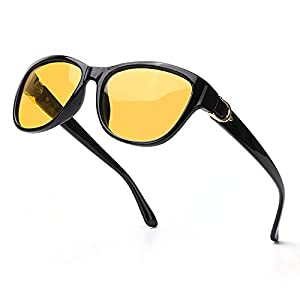 MuJaJa Night-Driving Glasses HD Polarized Night-Vision Glasses, Anti Glare Clear Vision Glasses for Women Driving Nighttime