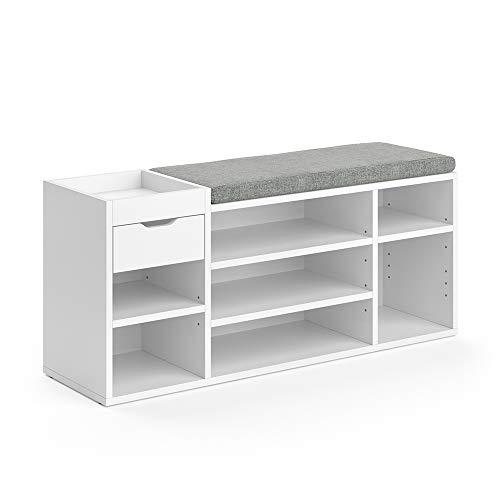 Vicco Schuhbank Schuhschrank Schuhregal Eleon Sitzbank mit Sitzkissen 7 Fächer