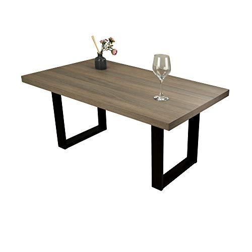 POKAR Mesa de Café/Mesa de Centro Industrial/Mesa Auxiliar/Mueble Salon Comedor con Patas de Mesa de Acero Negro y Tablero de 3,6 cm, Aspecto El Olmo Ahumado Liberty, 110 x 60 x 47 cm