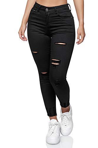 Elara Damen Jeans High Waist Destroyed Chunkyrayan YH 539 Black-42 (XL)