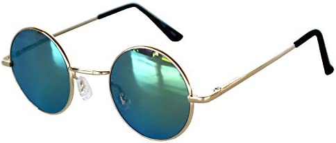 Round Retro Vintage Circle Sunglasses Metal Gold Frame Yellow Mirror Lens 43 mm product image