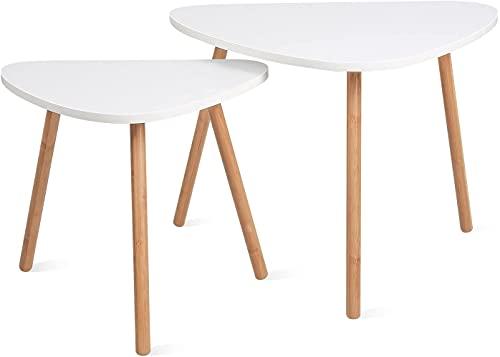 Set di 2 Tavolini Bassi da Salotto in Legno di Disegno Tavolo snack Tavolino Divano di caffè in MDF Tavolino da soggiorno Bianco(Triangolare)