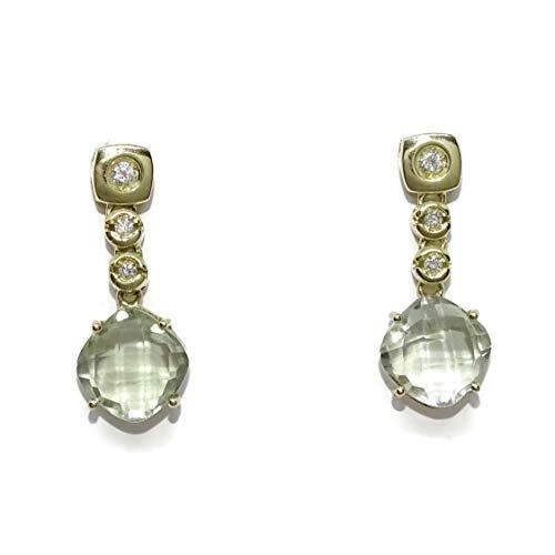 Pendientes con 0.12cts de diamantes y amatistas verdes de 2.20cts en oro amarillo de 18k. 2.20cm de largo, cierre presión.
