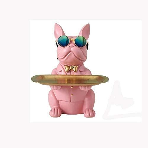 GAOYINMEI Skrivbordsskulptur staty djurstaty cool bulldogg hantverk mode skulptur heminredning multifunktionell skrivbord soffbord förvaring figurer presentprydnader (färg: B)