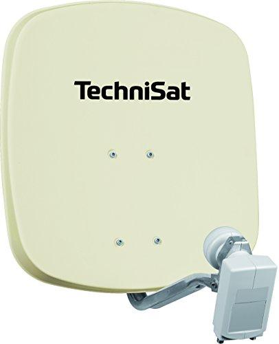 TechniSat DIGIDISH 45 - Satelliten-Schüssel für 2 Teilnehmer (45 cm kleine Sat Anlage - Komplettset mit Wandhalterung und Universal Twin-LNB) beige