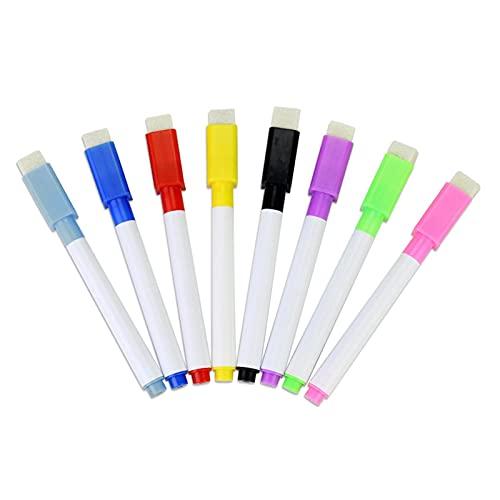 sprwater Marcadores de borrado en seco con Borrador, marcadores de Pizarra de 8 Colores, Punta Fina, Mini, magnéticos, regrabables, Colores clásicos Escuela, la Oficina o el Suitable
