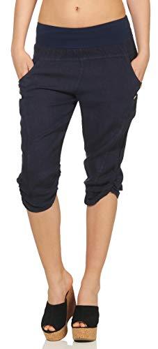 Malito Damen Hose aus Leinen | Stoffhose in Uni Farben | Freizeithose mit Knöpfen | Chino - Capri - Strandhose 7988 (dunkelblau, M)